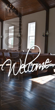 Church Banner featuring Church Pews and Welcome Theme