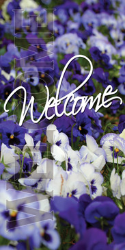 Church Banner featuring Purple/White Flowers and Welcome Theme
