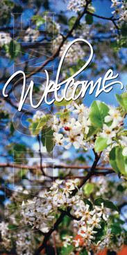 Church Banner featuring Flowering Trees for Welcome Center Banner