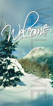 Church Banner featuring Snow and Welcome Theme