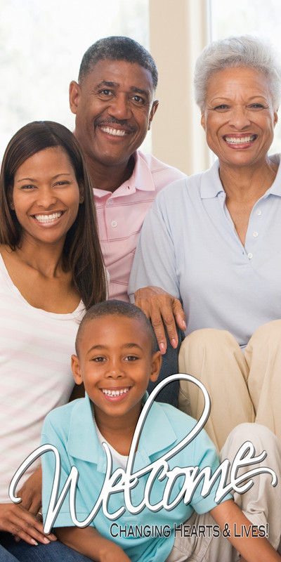 Church Banner featuring African American Family for Welcome Banner