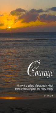 Church Banner featuring Gorgeous Sunset Over Ocean with Courage Theme