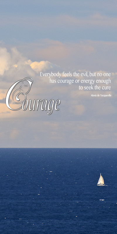 Church Banner featuring Small Sailboat on Ocean with Courage Theme