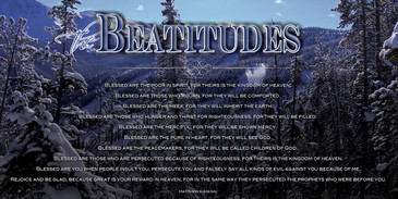 Church Banner featuring Snow Covered Mountain with Beatitudes Theme