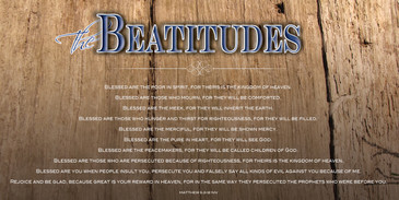 Church Banner featuring Wood Background with Beatitudes Theme