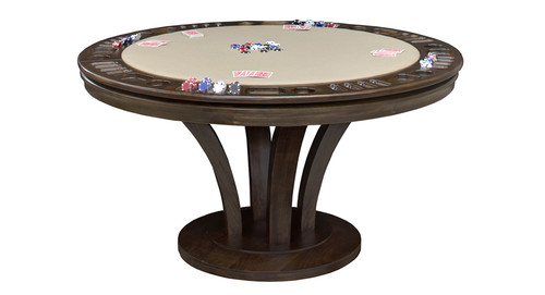 """Premium solid hardwood game table and dining table all in one. 100% solid kiln-dried frame and base available in many sizes. (48"""", 54"""", 60"""", 66"""" diameter and 30 1/2"""" Height) Available with game storage or Bumper Pool and comes in various cloth and finish options."""