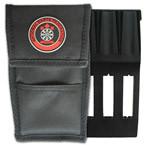 National Darts Federation dart wallet case includes insert and front storage pocket. Black