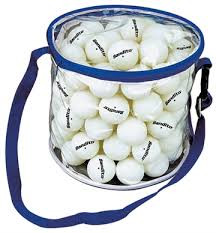 The swiftflyte bucket bag with zipper includes 72 white 1 Star balls