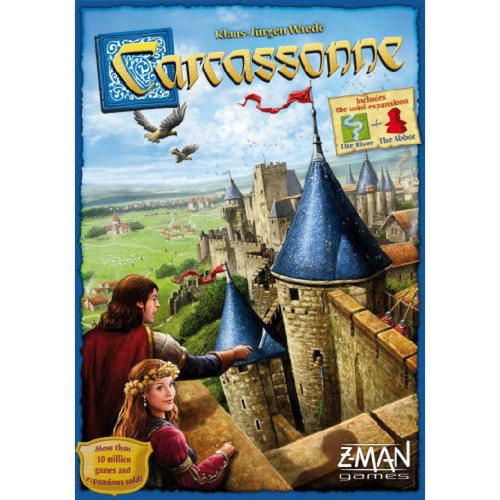 Carcassonne is a tile-placement game in which players draw and place a tile one at a time. Tiles might feature a city, a road, a cloister or grassland and must be placed accordingly to tiles that have already been placed. Cities to cities, roads to roads etcetera. Having placed a tile players then choose whether to place a meeple on fields, cities, roads, or monastaries in order to score as many points as possible. The player who will most cleverly use their meeples will win the game. 2-5 players     8+     30-45 min
