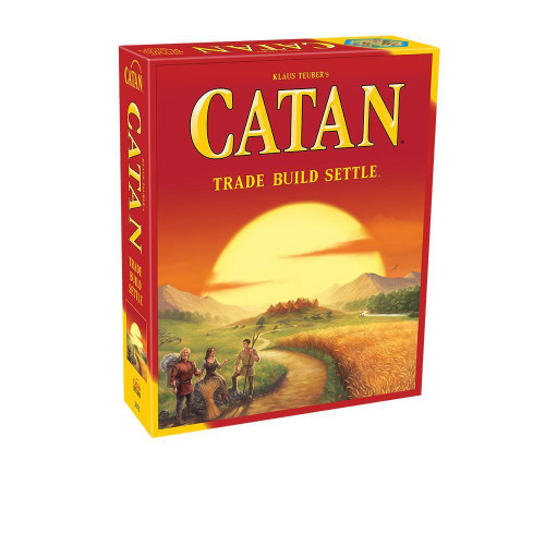 In Catan (formerly The Settlers of Catan) players collect resource cards-wood, brick, grain, sheep and stone to build settlements, cities and roads. First player to build up their civilization to 10 victory points wins the game.  3-4 players     10+     45-90 min