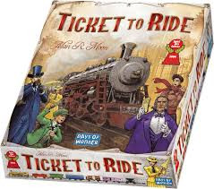 Players collect cards of various types of train cars that enable them to claim railway routes connecting cities throughout North America. The longer the route, the more points they earn.  2-5 players     8+     30-60 min