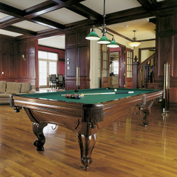 The Majesty billiard table brings elegant woodwork together with tournament quality design for a rich effect.  This is a solid maple pool table that is available in both Ram Head and Ball and Claw legs.  All pieces are numbered and fitted together just like in the good old days.