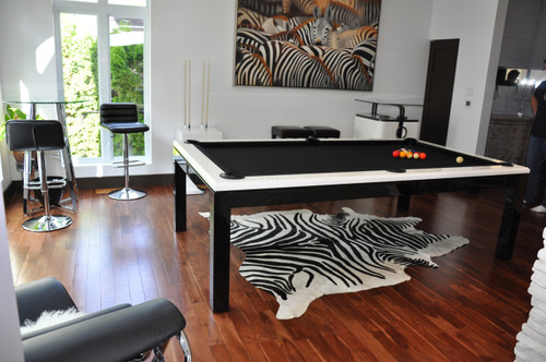 """The La Condo Evolution pool table is both sophisticated and sleek in design with it's white high gloss rails and black legs. This billiard table would be an exciting addition to any room.  Available in  6',7',8'and 9' lengths, this pool table is also available in 32"""" pool table height or 30"""" dining height."""