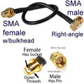 SMA male Right Angle To SMA female straight (bkd) Cable: 4-inch,  5-in, 6-in, 7-in, 8-in, 10-in, 12-in, 15-in, 18-inch