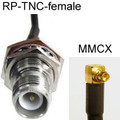 MMCX-right-angle to RP-TNC-female Cable: 18-inch, 20-inch double-shielded