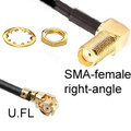 SMA-female (right-angle) to U.FL female:  We make all the shorter versions with 1.13mm coax that is very thin:  The very thin cable is typically needed in tight spaces inside of enclosures, so that the U.FL connector will snap down on the jack without popping off.