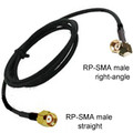 RP-SMA male right-angle To RP-SMA male straight:  Cable rated for outdoor and suitable for indoor use.