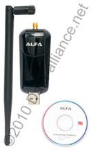 Alfa 1000mW WiFi USB Adapter Long-Distance Wireless-N w/Antenna & Jack