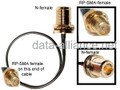 Antenna cable: N-female To RP-SMA female Reverse Polarity: 10-inch coax