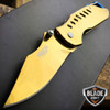 "6.5"" XTREME GOLD FINISH SPRING ASSISTED TACTICAL OPEN FOLDING POCKET KNIFE EDC"