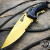 """8"""" MTECH USA GOLD SPRING ASSISTED TACTICAL FOLDING KNIFE Blade Pocket Open"""