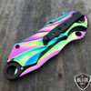 "8.5"" MTECH Rainbow Titanium Phantom Spring Assisted Pocket Knife"