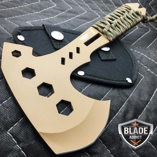 "10"" SURVIVAL TOMAHAWK TACTICAL THROWING AXE w SHEATH BATTLE Hatchet Knife Bronze"