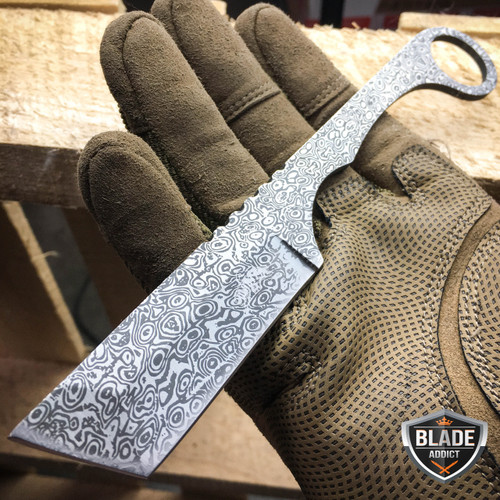 Straight Edge Razor Fixed Blade Damascus Cleaver TANTO Hunting Knife Karambit