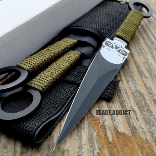 3 Pc 8 Quot Skull Ninja Tactical Kunai Throwing Knife Set W