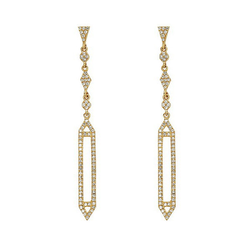 Bassali Diamond Deco Drop Earrings in 14k yellow gold