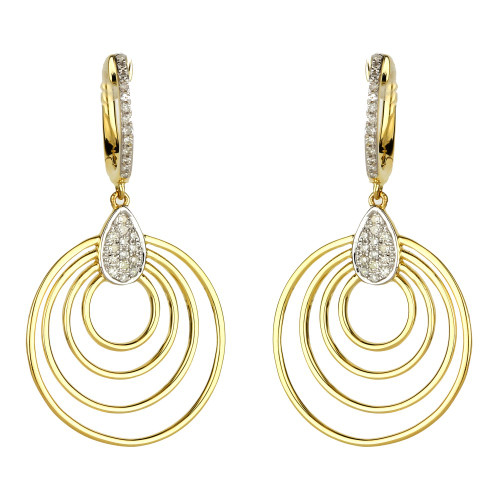 Concentric Circle Earrings: Madison L Concentric Circle Diamond Drop Earrings