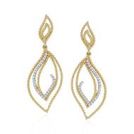Madison L Beaded Leaves Diamond Drop Earrings