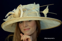 Natural Straw Cover Girl Kentucky Derby Hat.