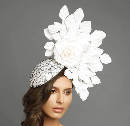 Clara, Black and White Disk Fascinator with White Flowers and White Leaves by Arturo Rios.