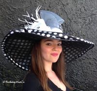 Black Large Brim Spectator Polkadot Derby Hat