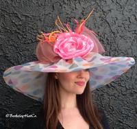 Large Brim Polkadot Pastel Derby Hat