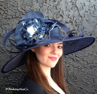 Blue Asymmetrical Derby Hat - FREE US EXPRESS