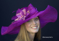 Winning Santa Anita Flowered Hat for the Derby in Purple