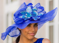 Winning Santa Anita Flowered Hat for the Derby in Blue