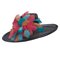 Lucky Kentucky Derby Hat in Black with Multi-Colored Feathers.