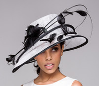 White and Black Show Stopper Derby Hat