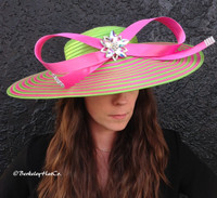 Pink and Green Couture Hat for the Derby.