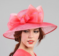 Coral Pink Organza Bow Sinamay Baby Shower Hat.