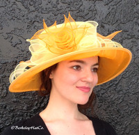 Easy Going Packable Organza Kentucky Derby Hat in Yellow and Orange.