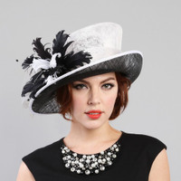 Black and White Spectacular Two Tone Race Day Hat on Model.