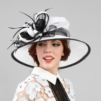 Black and White Feature Race Derby Hat on Model.