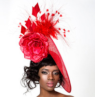 Susana, Red Fascinator by Arturo Rios