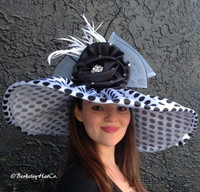 White Large Brim Spectator Polkadot Derby Hat