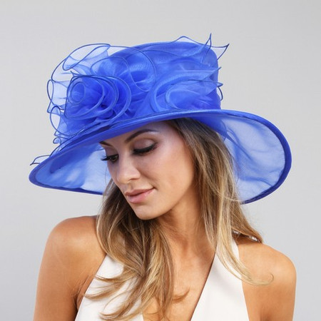 Royal Blue Simplicity at the Races Derby Hat on Model.