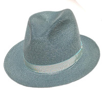 "Stetson ""Easy A"" Hemp Fedora in Turquoise Blue."